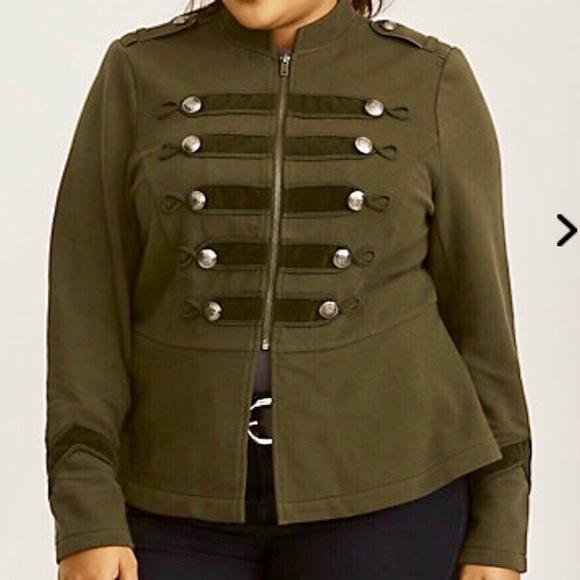 5838c7ecd4449 Torrid Plus Size Olive Zip Front Military Jacket